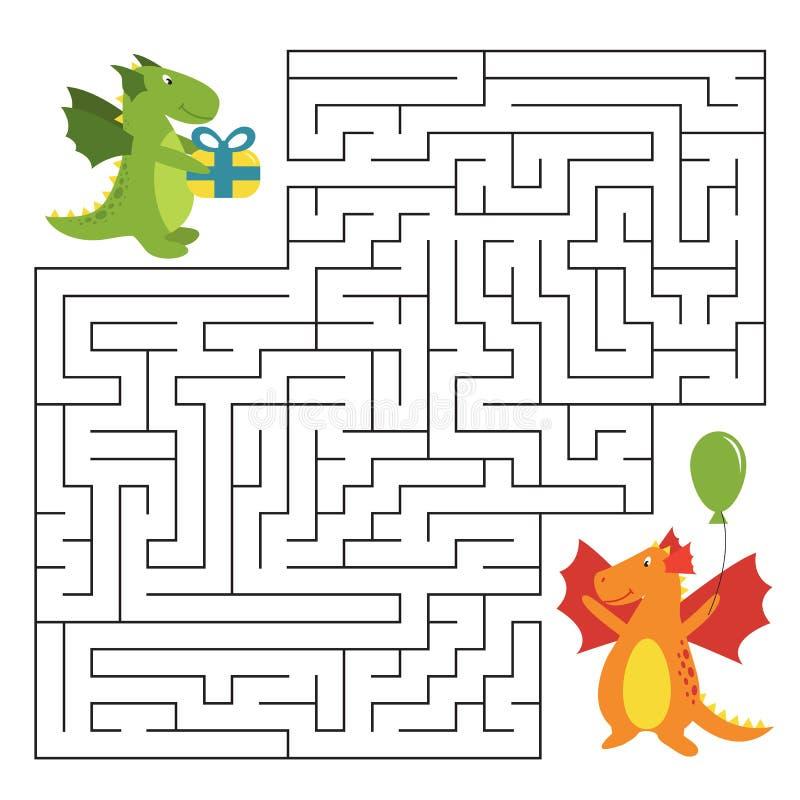 Jeu de labyrinthe d'anniversaire avec les dragons drôles de bande dessinée photo stock