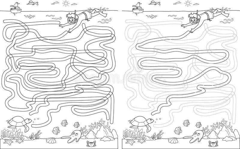 Jeu de labyrinthe de labyrinthe avec la solution Trouvez la tortue illustration libre de droits
