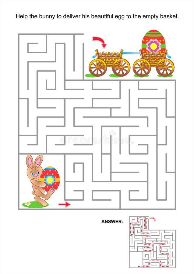 Jeu de labyrinthe pour des enfants avec le lapin et les oeufs peints illustration stock