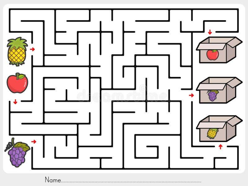 Jeu de labyrinthe : La sélection porte des fruits la boîte - feuille pour l'éducation illustration de vecteur