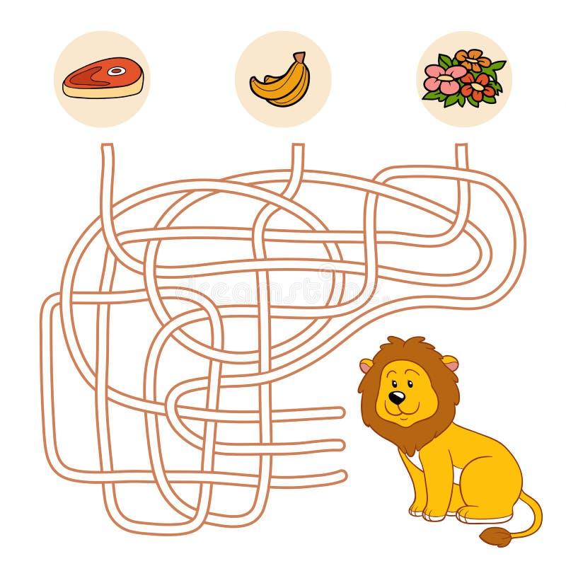 Jeu de labyrinthe (lion) illustration libre de droits