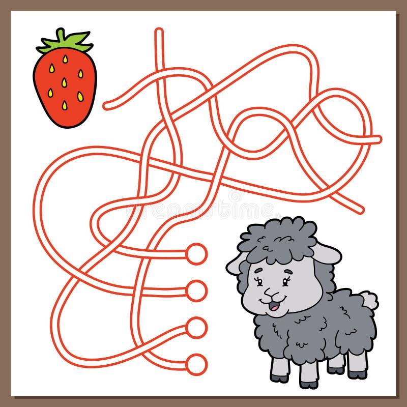 Jeu de labyrinthe de moutons et de fraise illustration libre de droits