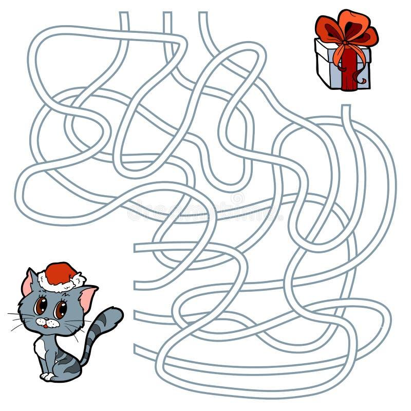 Jeu de labyrinthe pour des enfants : chat et cadeau de Noël illustration libre de droits