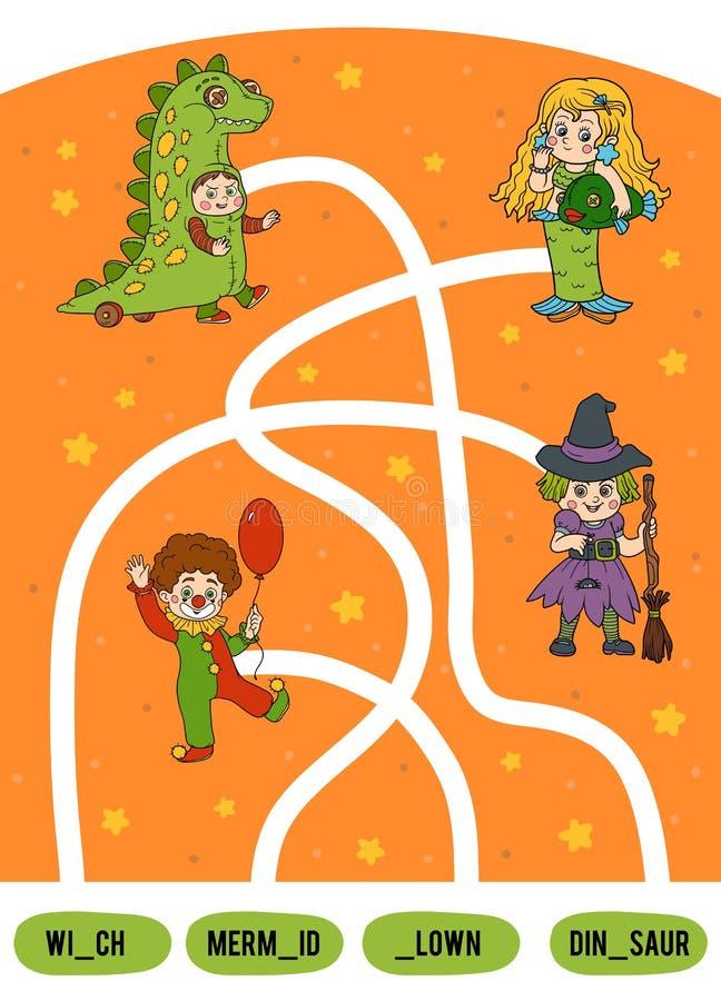 Jeu de labyrinthe pour des enfants Ensemble de caractères de Halloween illustration stock