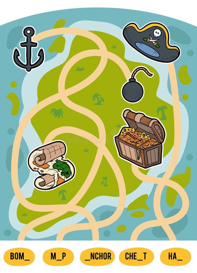 Jeu de labyrinthe pour des enfants, ensemble d'articles de pirate illustration libre de droits