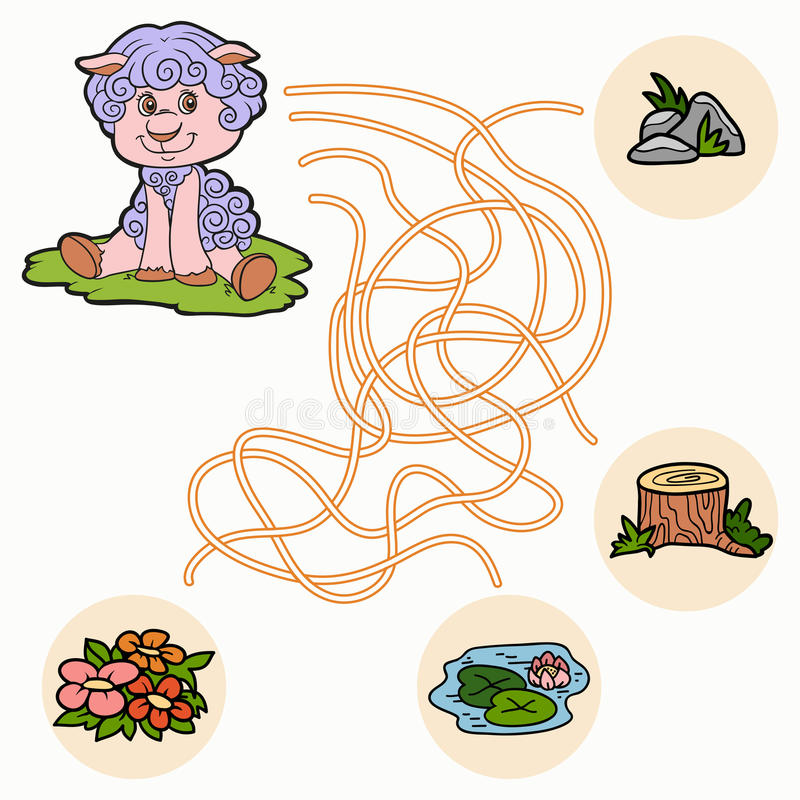 Jeu de labyrinthe pour des enfants (moutons) illustration de vecteur