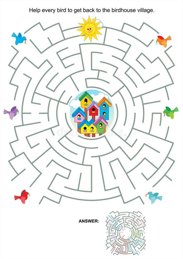 Jeu de labyrinthe pour des enfants - oiseaux et volières illustration libre de droits