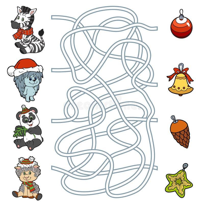 Jeu de labyrinthe pour des enfants : petits animaux et décorations de Noël illustration libre de droits