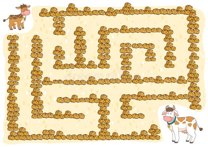 Jeu de labyrinthe pour des enfants, vache illustration stock