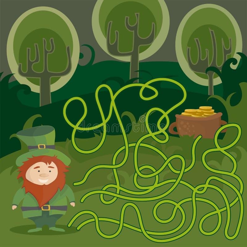 Jeu de labyrinthe pour des gosses Aidez le lutin rouge à trouver son chemin dans le pot d'or illustration de vecteur