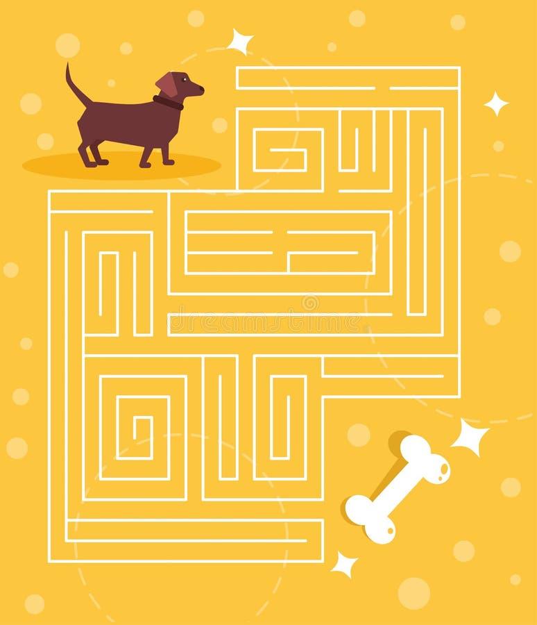 Jeu de labyrinthe pour le teckel d'enfants recherchant un vecteur d'os cartoon Art d'isolement illustration de vecteur