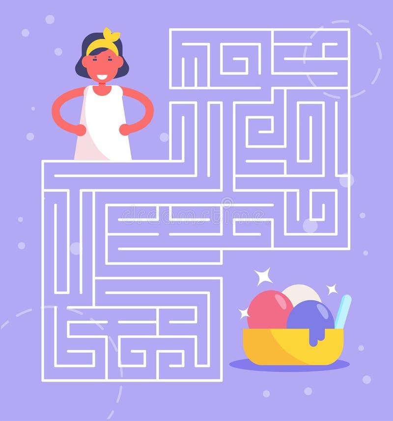 Jeu de labyrinthe pour le vecteur d'enfants cartoon Art d'isolement illustration de vecteur