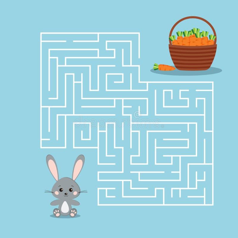 Jeu de labyrinthe pour les enfants avec un labyrinthe sur le fond bleu illustration de vecteur