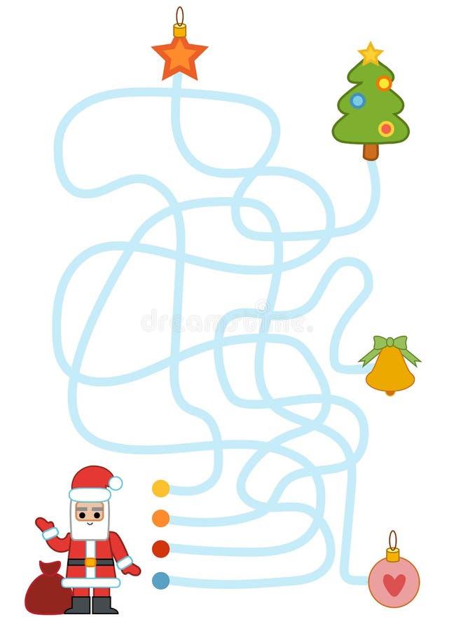 Jeu de labyrinthe pour les enfants, l'arbre de Santa Claus et de Noël illustration libre de droits