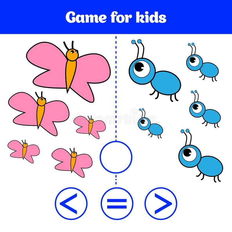 Jeu de logique d'éducation pour les enfants préscolaires Choisissez la réponse correcte Plus, moins ou illustration égale de vect illustration stock
