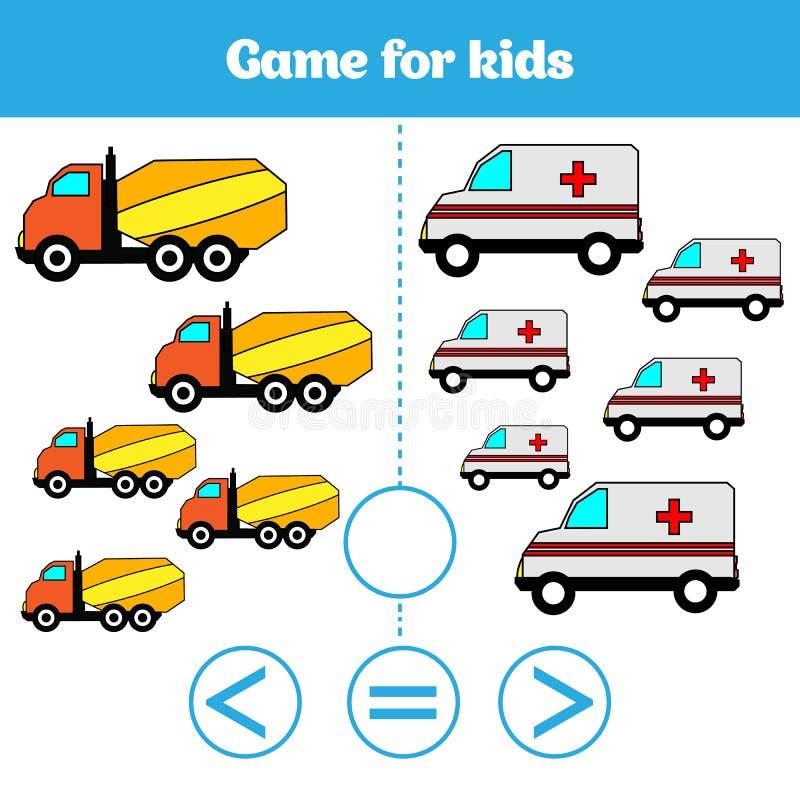 Jeu de logique d'éducation pour les enfants préscolaires Choisissez la réponse correcte Plus, moins ou illustration égale de vect illustration libre de droits