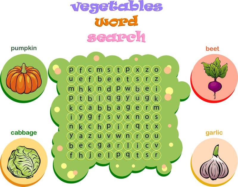 Jeu de logique pour apprendre l'anglais Trouvez les mots cachés par vertic illustration stock