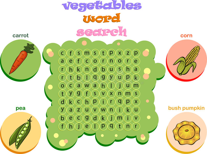Jeu de logique pour apprendre l'anglais Trouvez les mots cachés par vertic illustration de vecteur