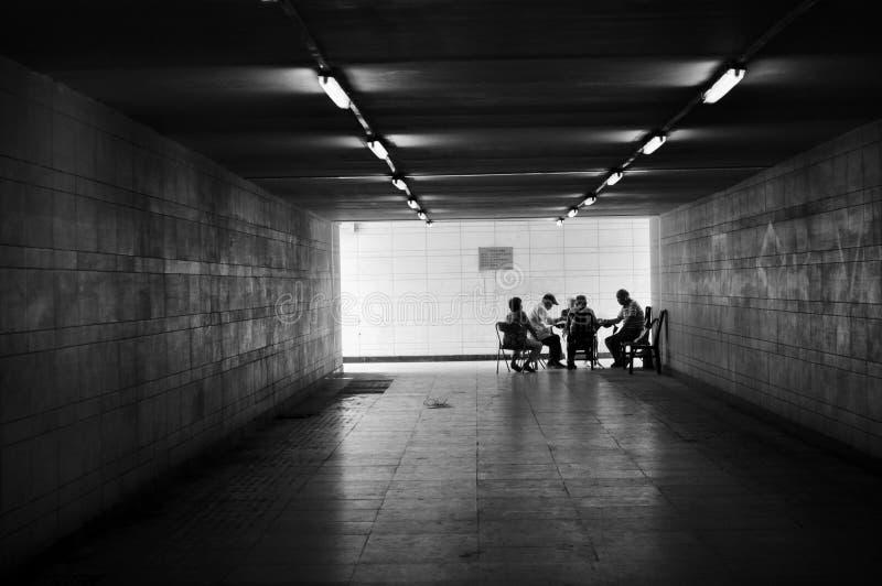 Jeu de Mahjong dans le passage souterrain Pékin photographie stock libre de droits