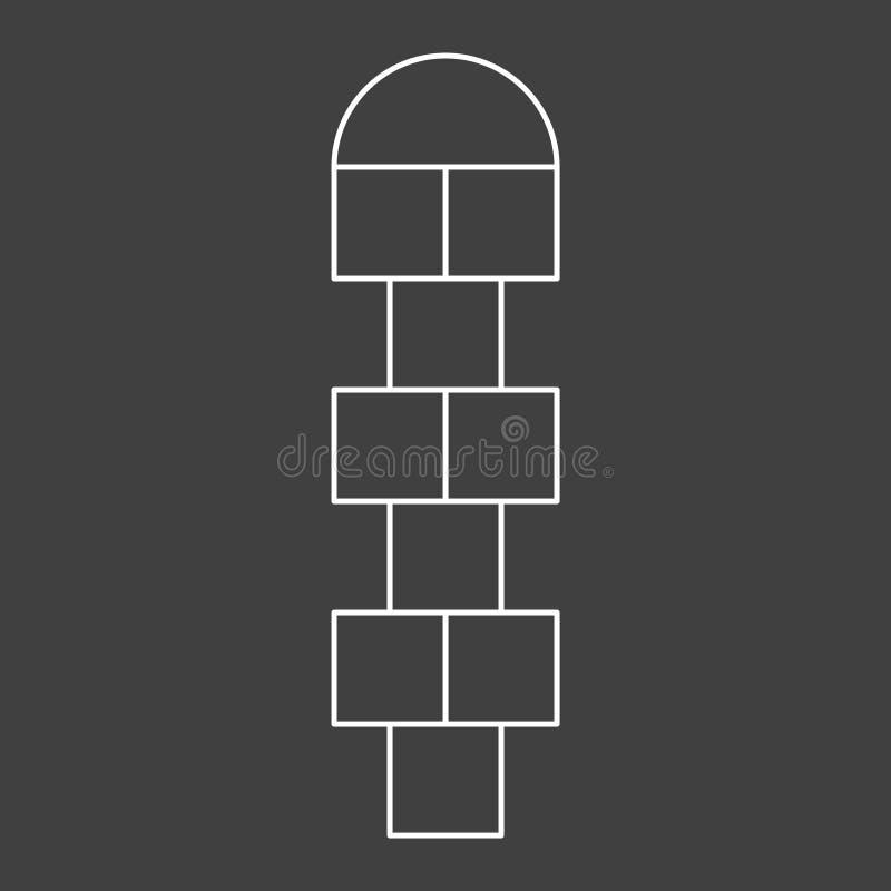 Jeu de marelle de jeux d'enfants de figure Places vides sans nombres Illustration de vecteur sur un fond gris illustration libre de droits