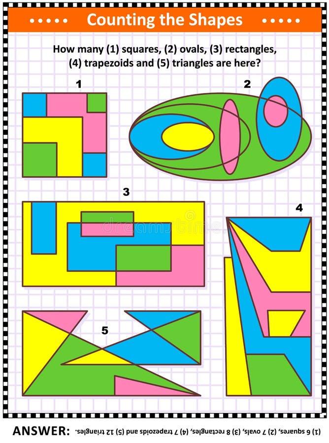 Jeu de maths avec des formes de base - comptez les places, ovales, rectangles, triangles, trapèzes illustration stock