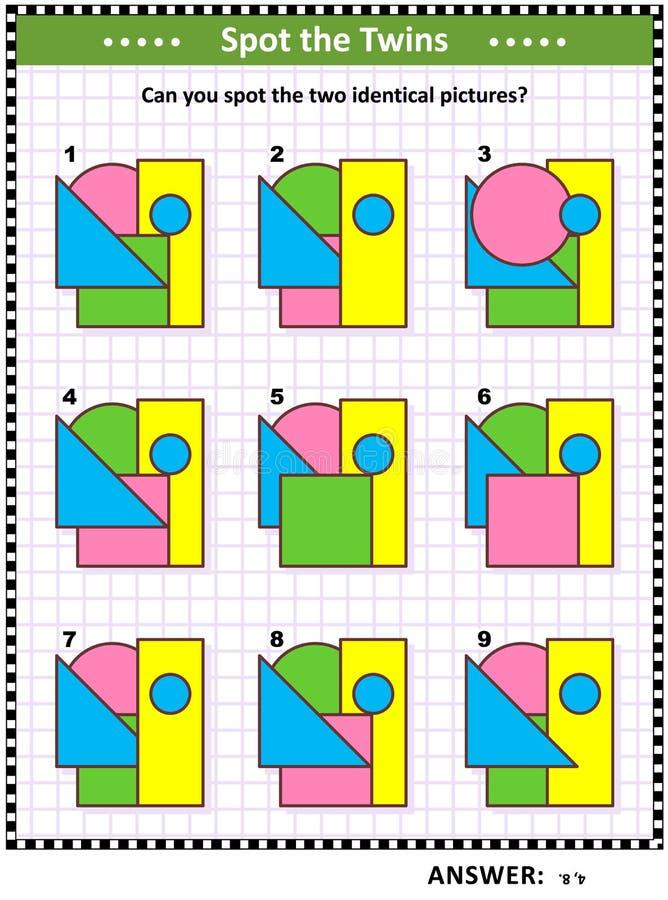 Jeu de maths avec des formes de base - triangle, rectangle, cercle, place illustration de vecteur