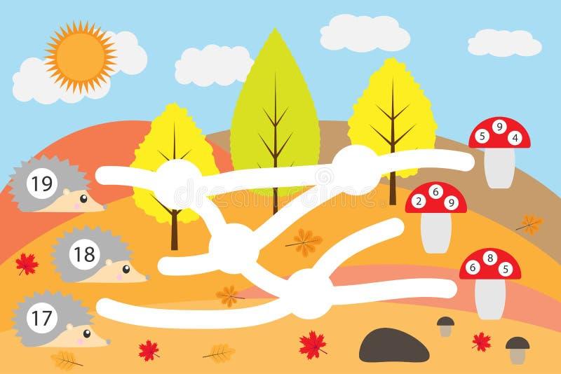 Jeu de maths pour les enfants, hérissons d'avance par le labyrinthe pour corriger les amanites, jeu de labyrinthe d'éducation pou illustration stock