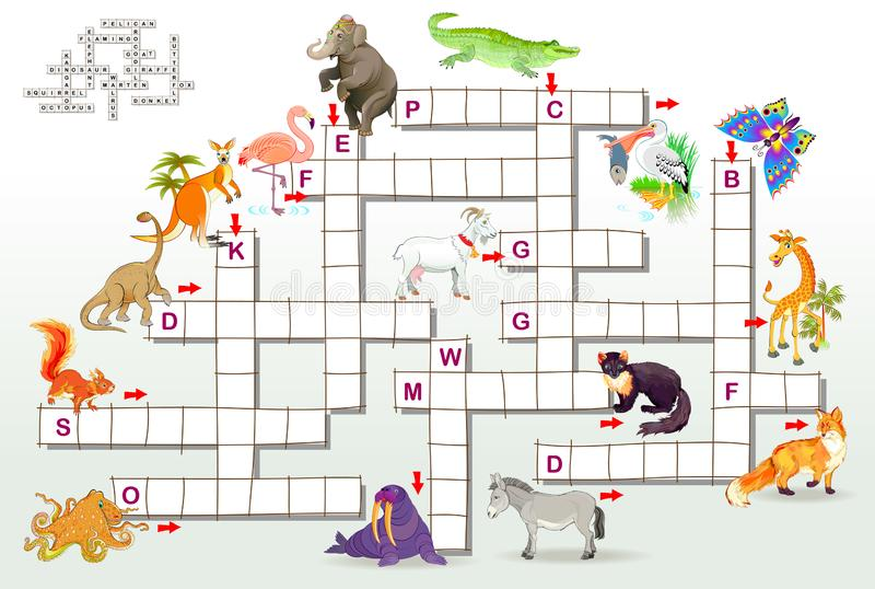 Jeu de jeu de mots croisé avec les animaux drôles Page éducative pour des enfants pour des mots de l'anglais d'étude Image de ban illustration stock