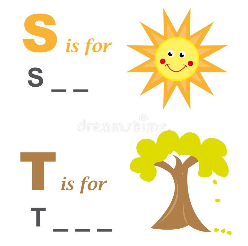Jeu de mots d'alphabet : le soleil et arbre illustration stock