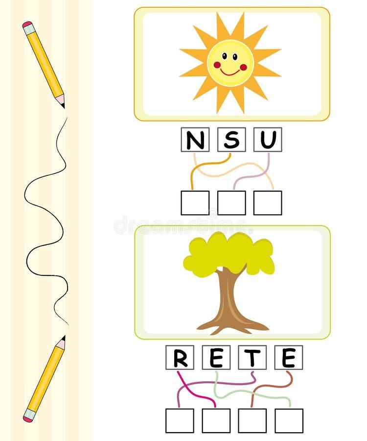 Jeu de mots pour des gosses - le soleil et arbre illustration stock
