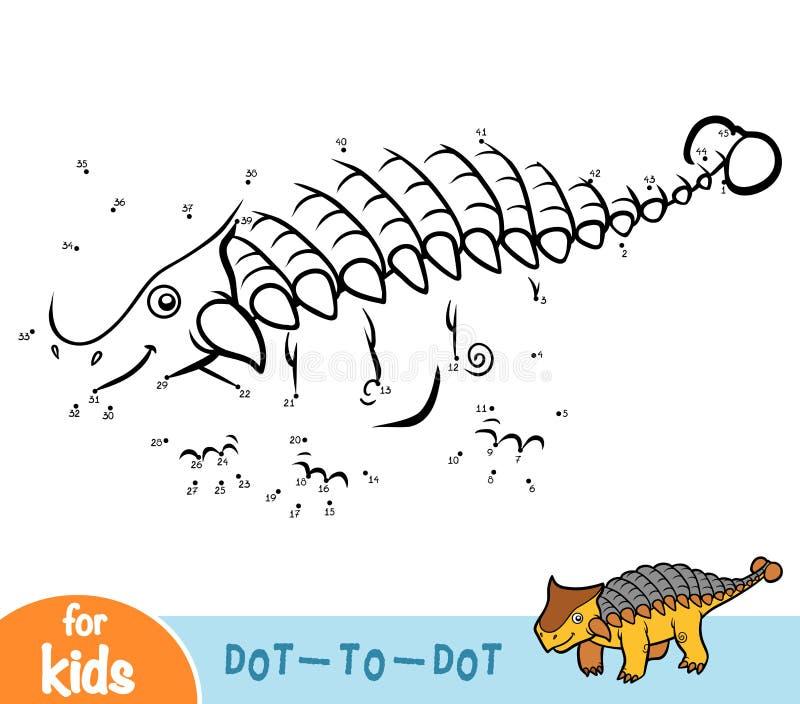 Jeu de nombres, jeu d'éducation pour des enfants, Ankylosaurus illustration stock