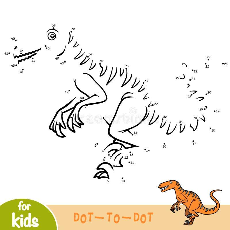 Jeu de nombres, jeu d'éducation pour des enfants, Deinonychus illustration stock