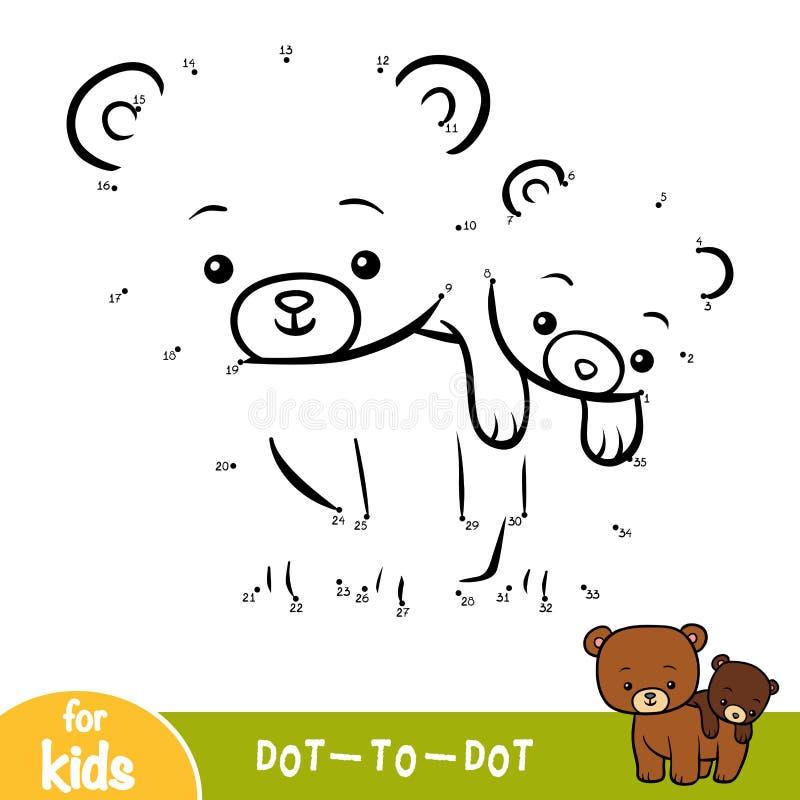 Jeu de nombres, jeu d'éducation pour des enfants, deux ours illustration stock