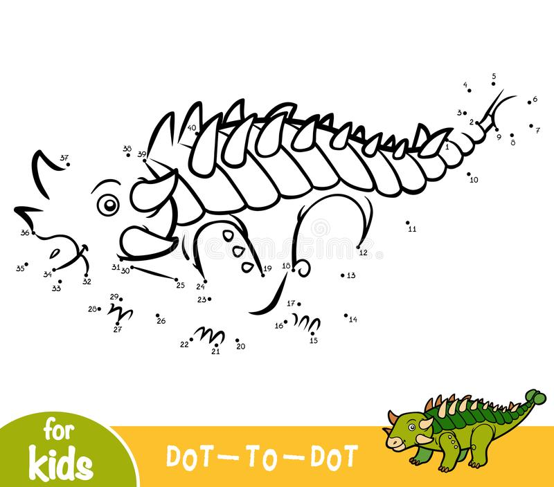 Jeu de nombres, jeu d'éducation pour des enfants, Euoplocephalus illustration stock