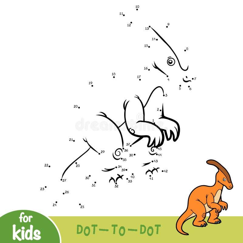 Jeu de nombres, jeu d'éducation pour des enfants, Parasaurolophus illustration de vecteur