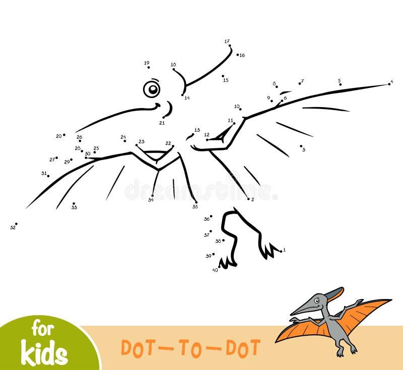 Jeu de nombres, jeu d'éducation pour des enfants, Pteranodon illustration de vecteur