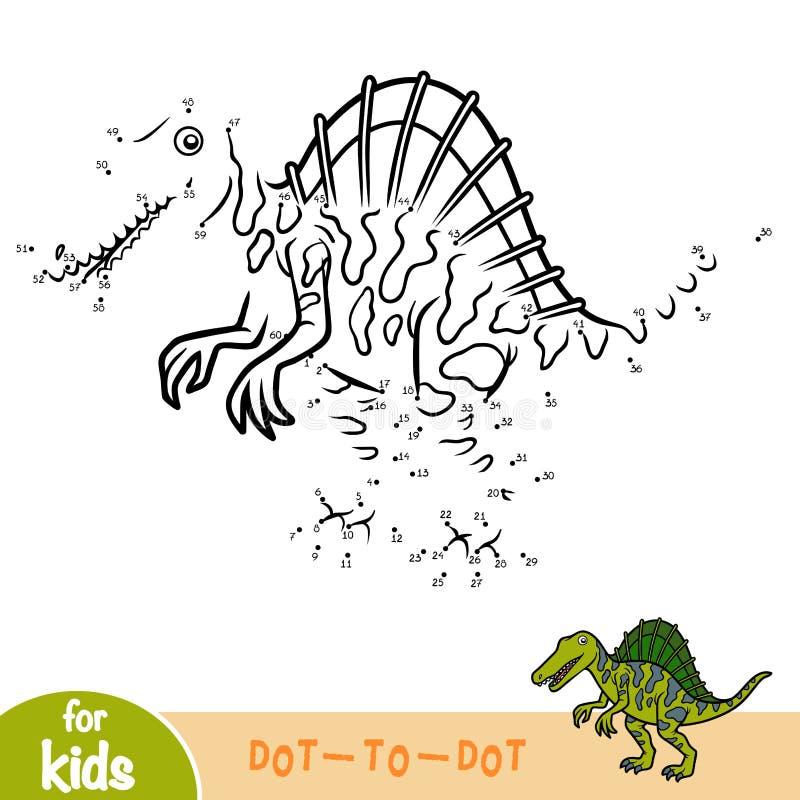 Jeu de nombres, jeu d'éducation pour des enfants, Spinosaurus illustration de vecteur