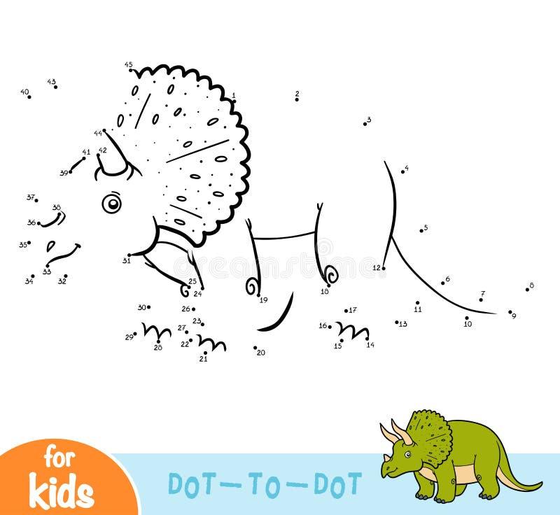 Jeu de nombres, jeu d'éducation pour des enfants, Triceratops illustration stock