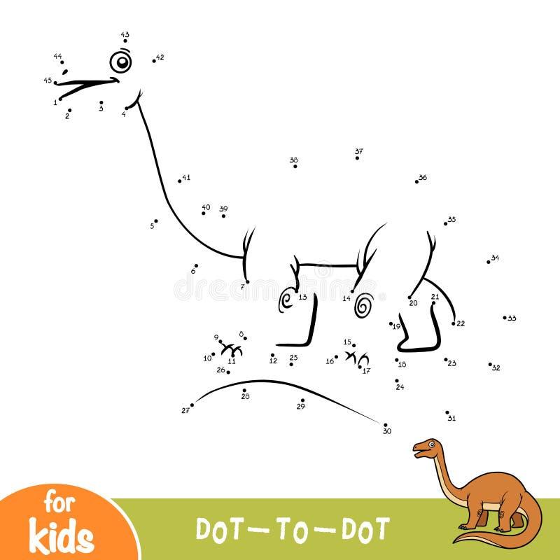 Jeu de nombres, point pour pointiller le jeu pour des enfants, Apatosaurus illustration de vecteur