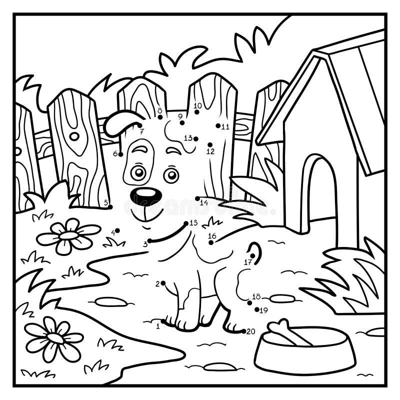 Jeu de nombres pour des enfants, point à pointiller (chien) illustration stock