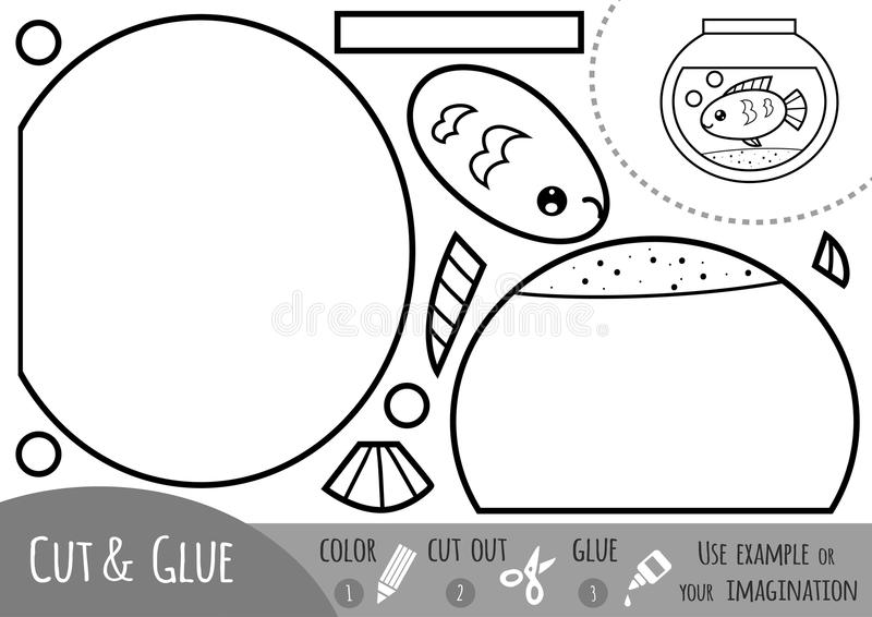 Jeu de papier d'éducation pour des enfants, aquarium illustration stock