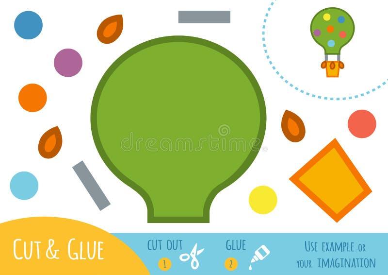 Jeu de papier d'éducation pour des enfants, ballon illustration stock