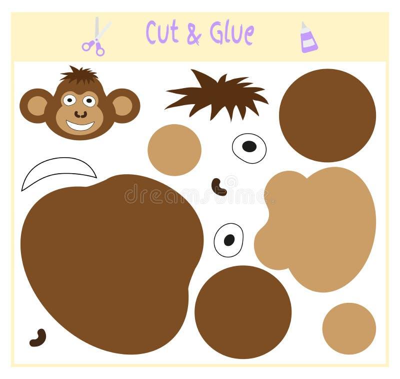 Jeu de papier d'éducation pour le développement des enfants préscolaires Coupez les parties de l'image et les collez sur le papie illustration stock