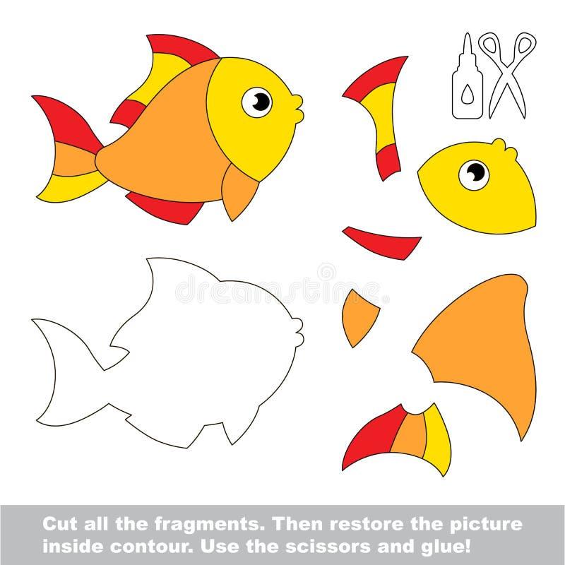 Jeu de papier d'enfant Demande facile d'enfants avec des poissons d'or illustration libre de droits
