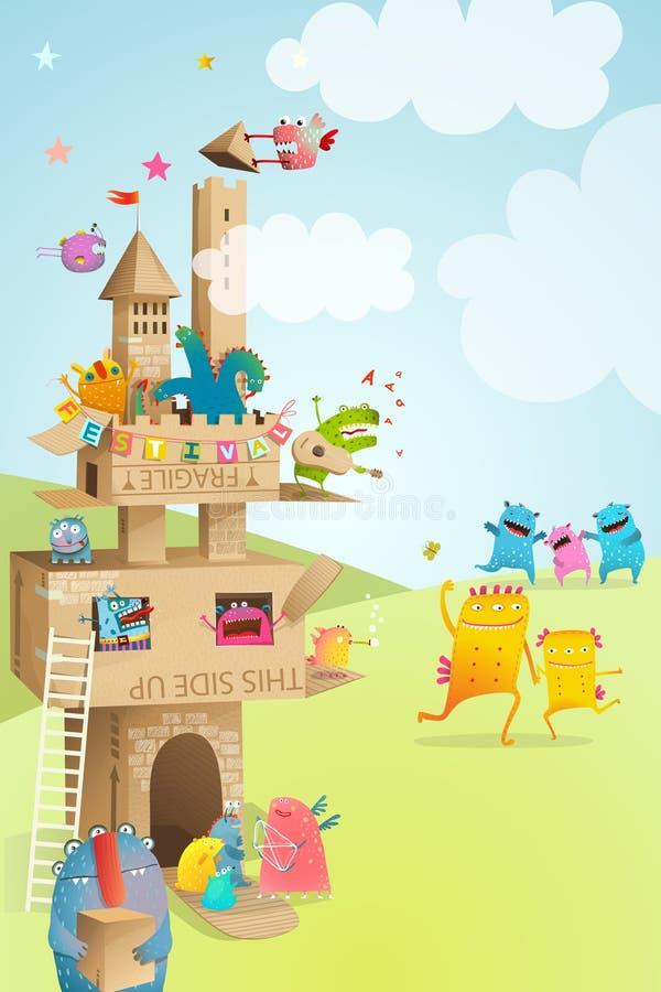 Jeu de papier de festival d'été d'enfants de château de carton illustration libre de droits