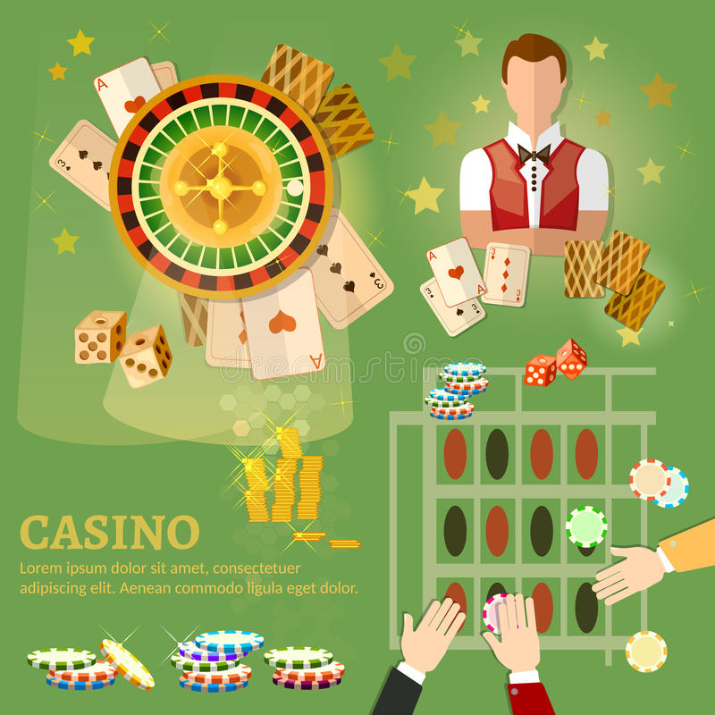 Jeu de poker de casino jouant des cartes illustration de vecteur