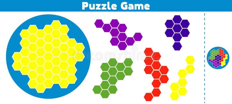 Jeu de puzzle complet le modèle Jeu de logique d'éducation pour les enfants préscolaires Illustration de vecteur illustration de vecteur