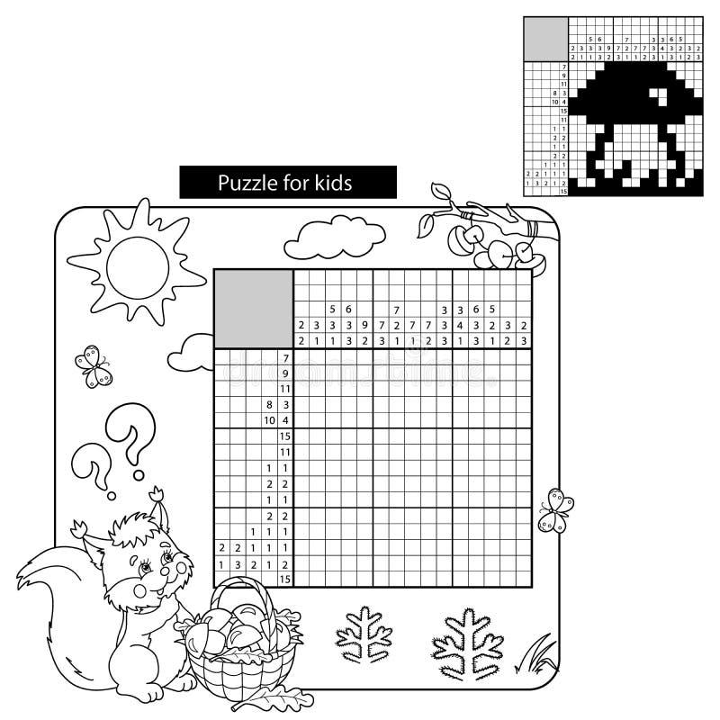 Jeu de puzzle d'éducation pour des écoliers Contour de page de coloration d'écureuil illustration libre de droits
