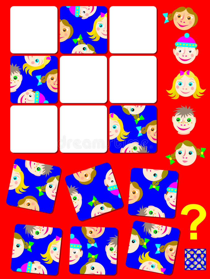 Jeu de puzzle de logique avec les visages drôles Devez trouver l'endroit correct pour chaque morceau illustration stock