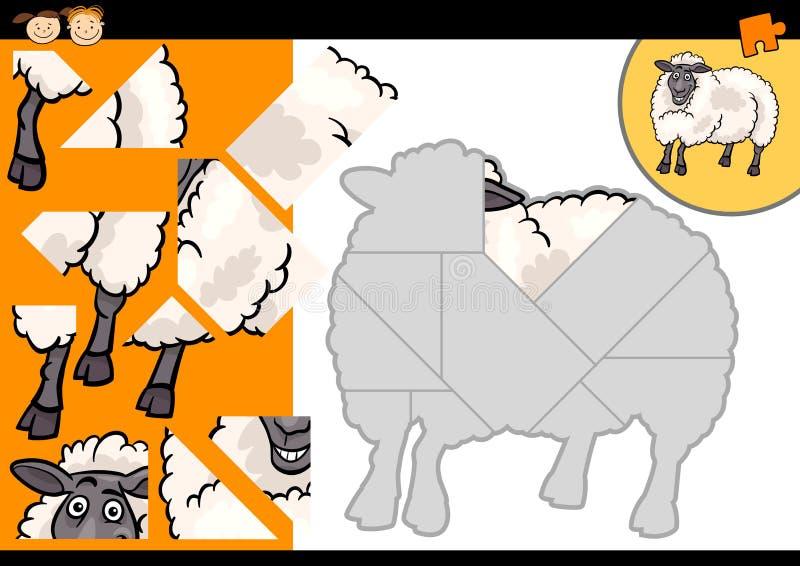 Jeu de puzzle de moutons de ferme de bande dessinée illustration de vecteur